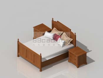 Solid wood double bed and cabinet 3D model
