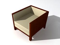 Solid wood outer frame cloth art sofa 3D models