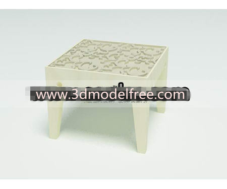 Solid wooden carved low stool 3D Model