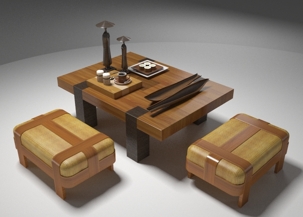 Southeast Asian style wood tables and chairs 3D Model