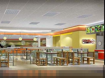 Spacious and comfortable fast-food restaurant 3D Model