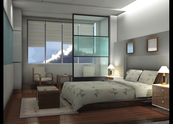 Spacious bedroom 3D effect