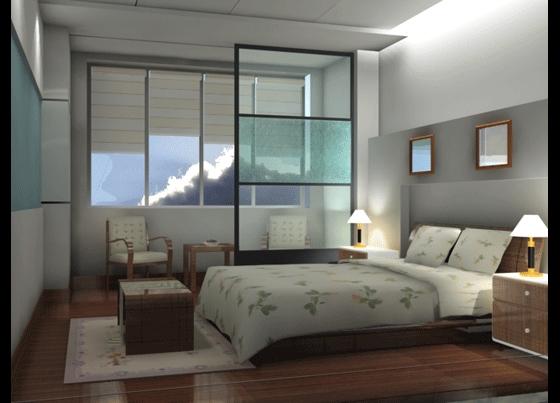 Spacious bedroom 3D effect