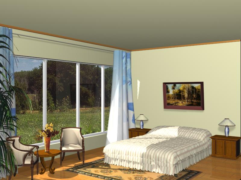 Spacious bedrooms 3D model