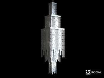 Square multi-storey crystal chandelier 3D Model