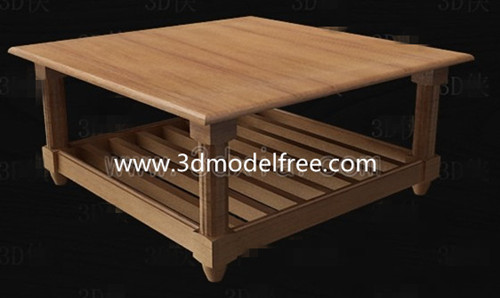 Square wooden tea table 3D Model