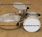 Stainless steel pots 3D Model