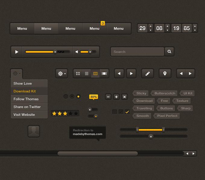 Sticky Butterscotch UI Kit PSD
