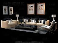 Striped pillow yellow sofa combination 3D Model