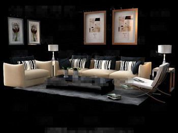 Striped pillow yellow sofa combination 3D Model