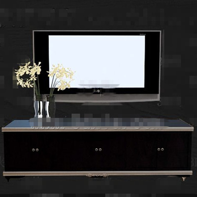 Stylish cool black wooden TV cabinet 3D Model