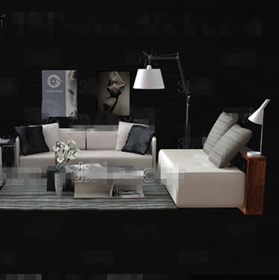 Stylish gray fabric sofa combination 3D Model