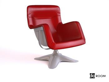 Stylish red armrests swivel 3D Model