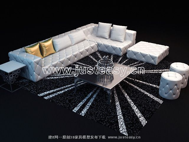 Stylish sofa combination of 3D models (including materials)