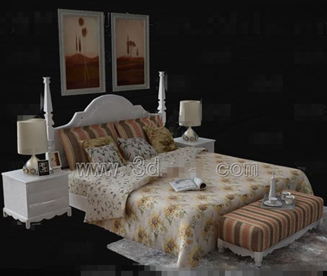 Sunflower Floral white double bed 3D Model