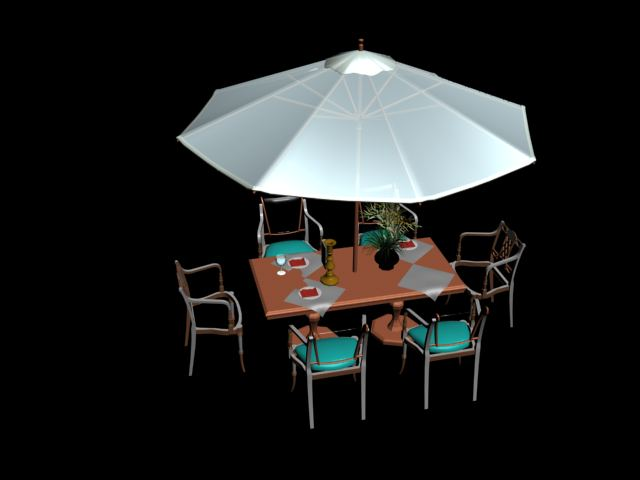 tables and umbrellas Portfolio 3D Model