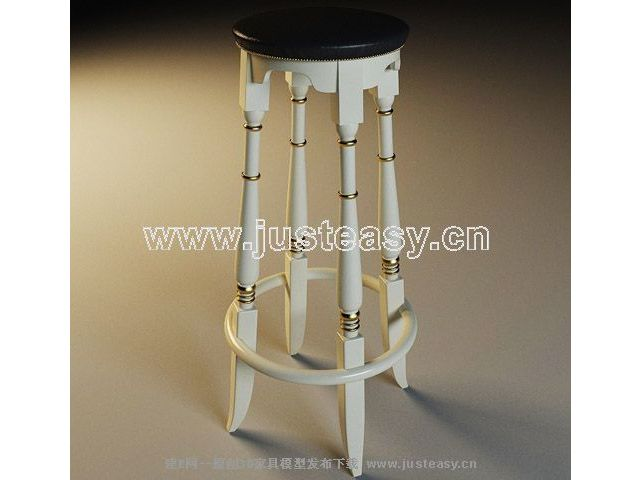 Tall black and white chair 3D Model