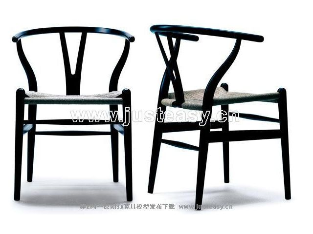 Tall black chair China 3D Model