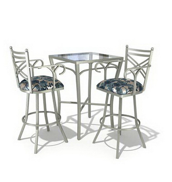 Tall casual dining tables and chairs combination 3D Model