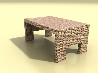 tea tables  1- rattan tea table 3D Model