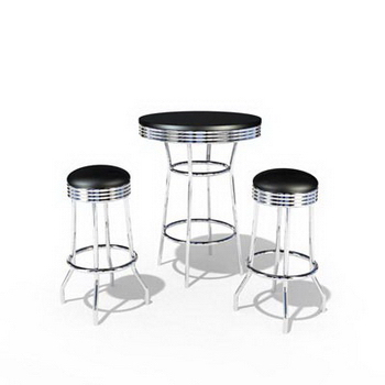 The black casual dining tables and chairs combination 3D Model