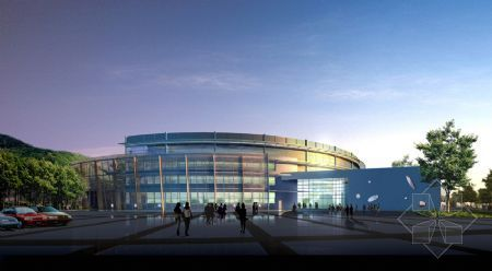 The circular glistens leisure center 3D model (including material quality)