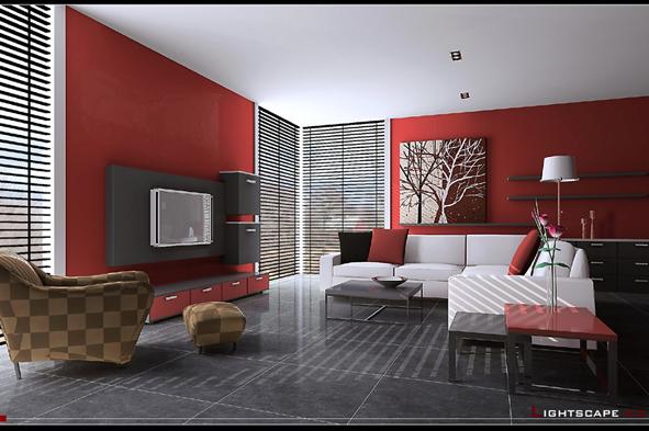 The cream Interior space-013 3D Model