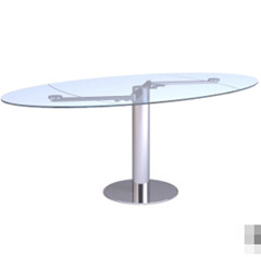 The Elliptic transparent glass table 3D Model