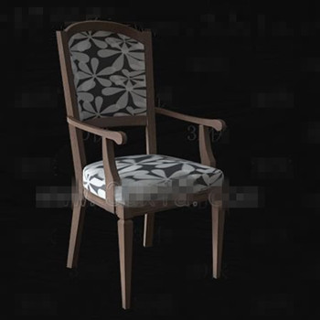 The gray and white seat wooden chair 3D Model