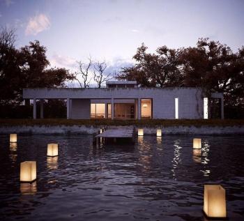 The hut location under the night scene 3D Model