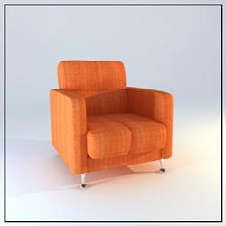 The orange cloth single recreational sofa chair 3D models