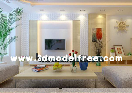 The spacious living room full of light 3D Model