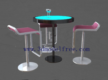 The tall bar class tables and chairs combination model 3D Model