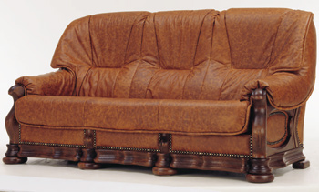 Three seats leather brown sofa 3D Model