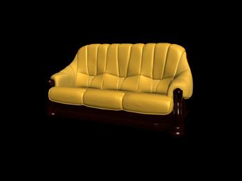 Three seats yellow leather sofa 3D Model