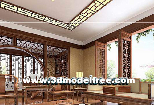 Traditional Chinese wooden living room 3D Model