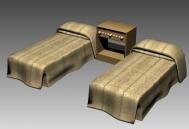Twin Bed In Standard Room 3D Model