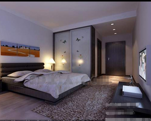 Ultra-simple white and gray bedroom 3D Model
