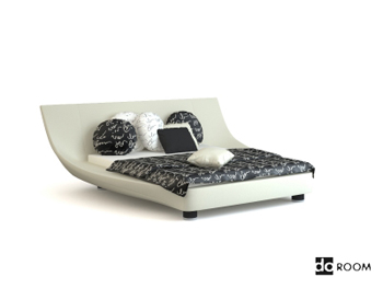 Unique shape white double bed 3D Model