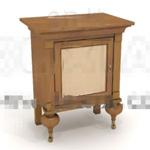 Unique square door bedside cabinet 3D Model