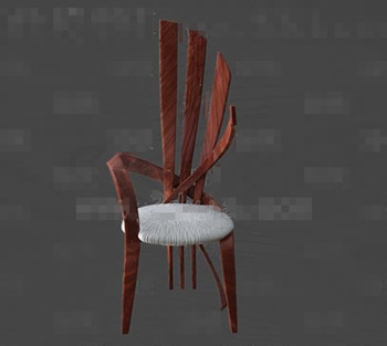 Unique wooden round cushion chair 3D Model