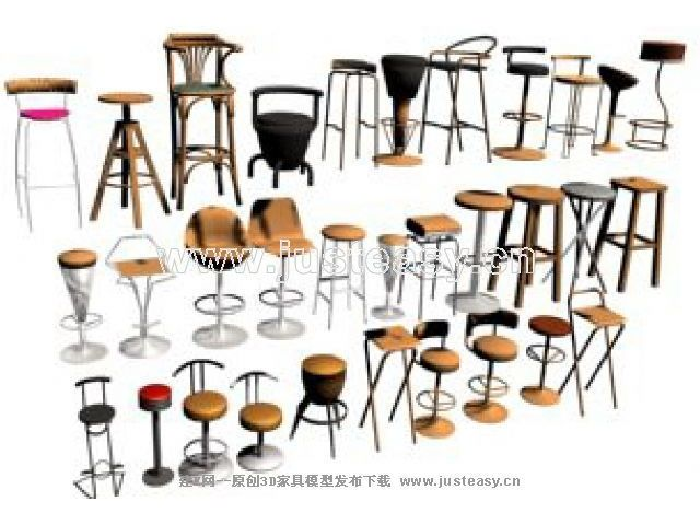 Various monomers height chairs 3D Model