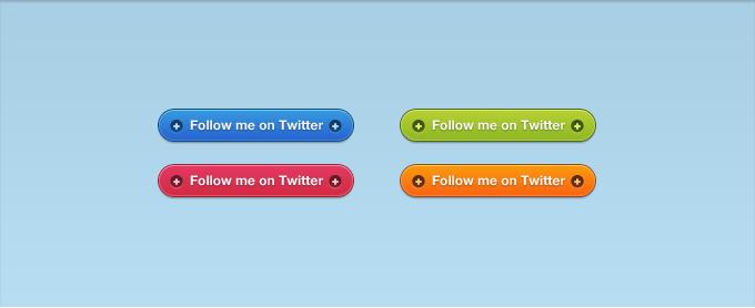Vibrant Twitter Follow Buttons PSD