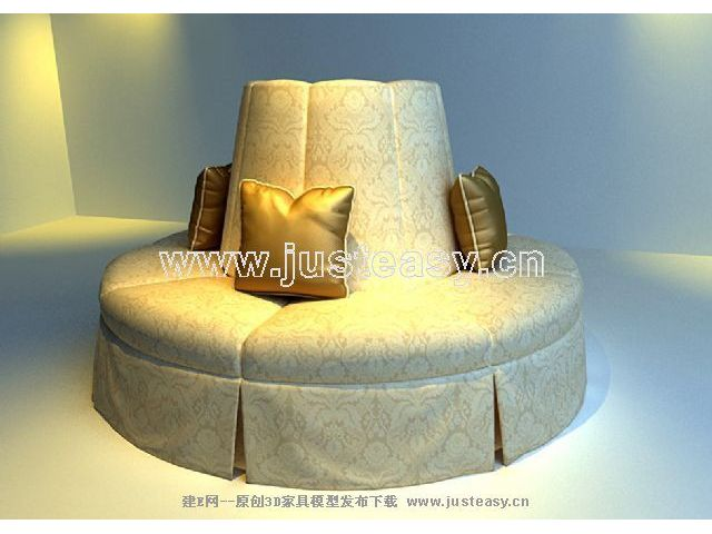 Vintage Art sofa 3D model people (including materials)