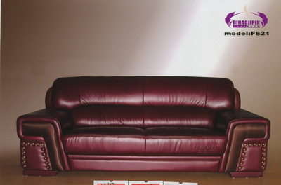 Vintage dark red leather sofa 3D Model