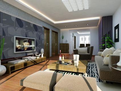 VR model living room (with materials, lighting) 3D Model