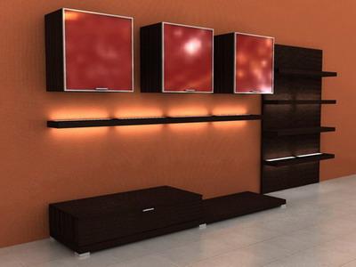 walls behind  TV 16 3D Model