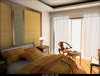 Warm and stylish bedroom model 3D Model