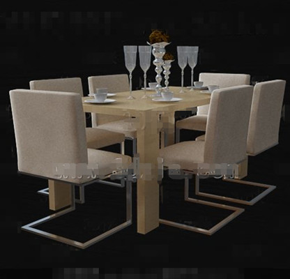 Warm beige long dining table combination 3D Model