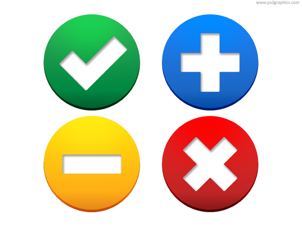 Web buttons – accept, add, exclude, delete PSD